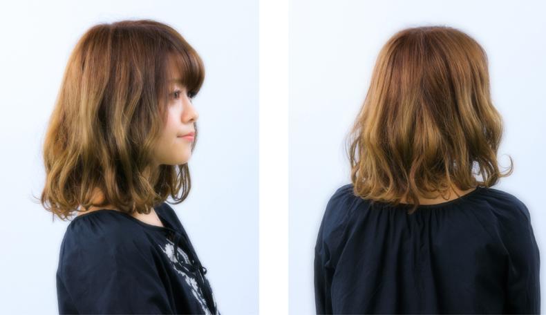 ナチュラルウェーブミディラフな毛流れが魅力のボブスタイル