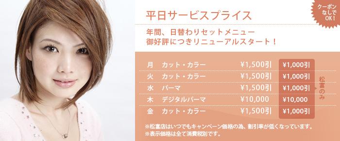 静岡にあるエスアンドエフ美容室、美容院の平日サービスプライス 年間、月替わりセットメニュー 御好評につきリニューアルスタート!